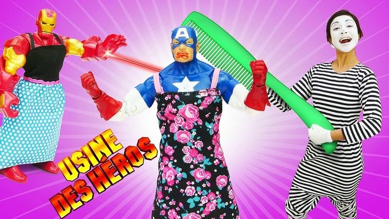 Vidéo drôle des super-héros. Iron Man et Captain America au salon de beauté.