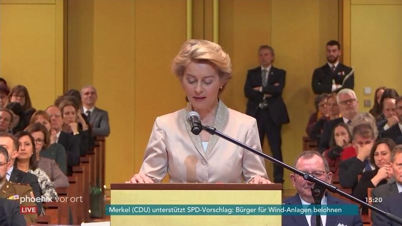 Ursula von der Leyen bei ihrer Vereidigung zur EU Kommissionspräsidentin am 13 01 20