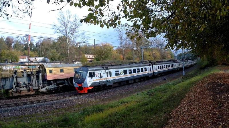 Электропоезд ЭД4М-0485 ЦППК перегон Латышская-Нара (по неправильному пути) 24.09.2019
