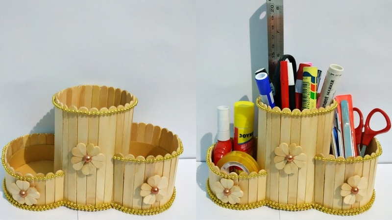 Kreasi dari Stik Es Krim | Membuat tempat pensil dari stik es krim | Popsicle stick craft idea