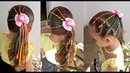 Penteado Infantil arco-íris versão com fitas para Festa Junina