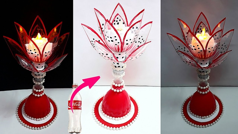 DIY Best out of waste Showpiece Tealight holder made from Plastic Bottle DIY home decoration ideas
