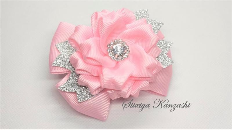 Украшение на заколку Канзаши Нежные розовые бантики с цветами Бантики из Эко Кожи и Репса