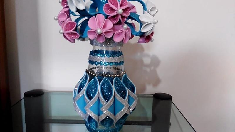 طريقة سهلة و غير مكلفة بالمرة لعمل مزهرية مع بوكيه ورد رووووووعة come decorare una bottiglia