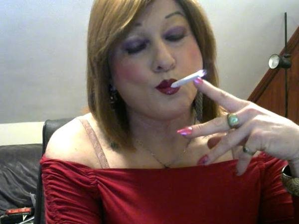 Lady in red smoking fetish