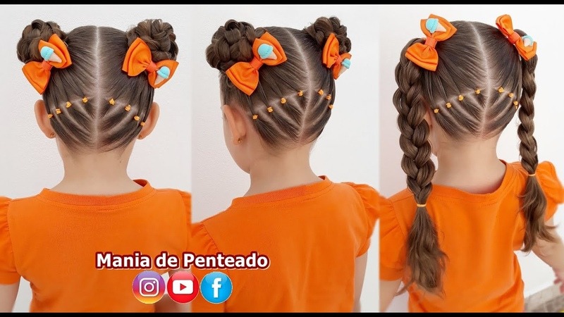 Penteado Infantil Fácil com Ligas e Coque Duplo Easy Two Buns Hairstyle for Girls