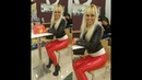 DANA LABO - walking in red latex leggings and leather jacket
