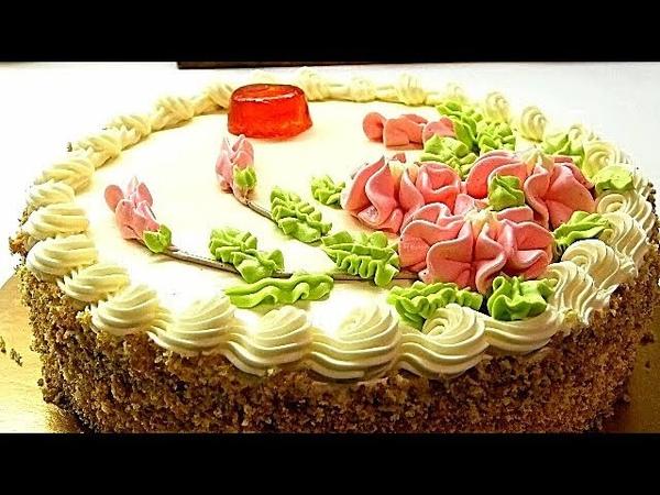 Советский Бисквитно кремовый торт Рецепт сливочного крема Sponge Cream Cake