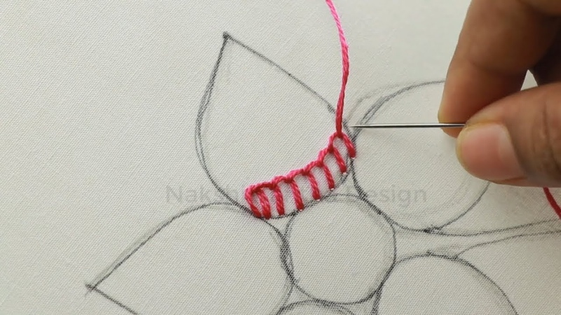 Hand embroidery tutorial with checkered stitch and french knot