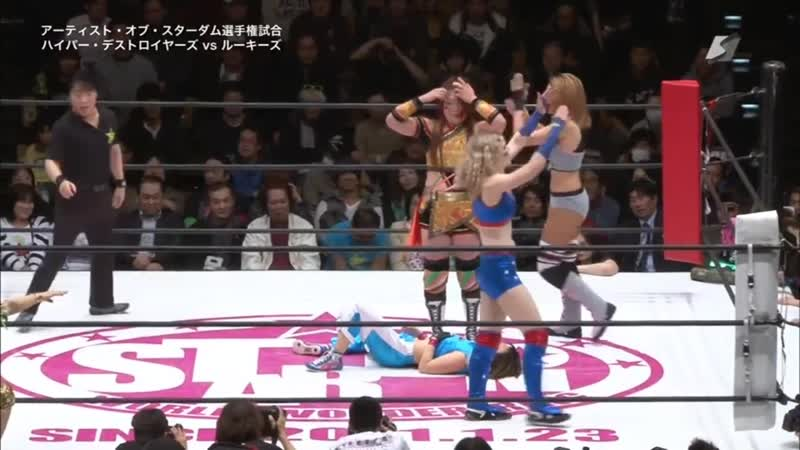 Hyper Destroyers (Evie, Hiroyo Matsumoto Kellie Skater) (c) vs. Hiromi Mimura, Jungle Kyona Momo Watanabe
