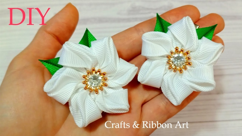 Easy Ribbon Trick 💖 Amazing Kanzashi Flower 💖Easy Flower Making Hand Embroidery Flores De Fita 33