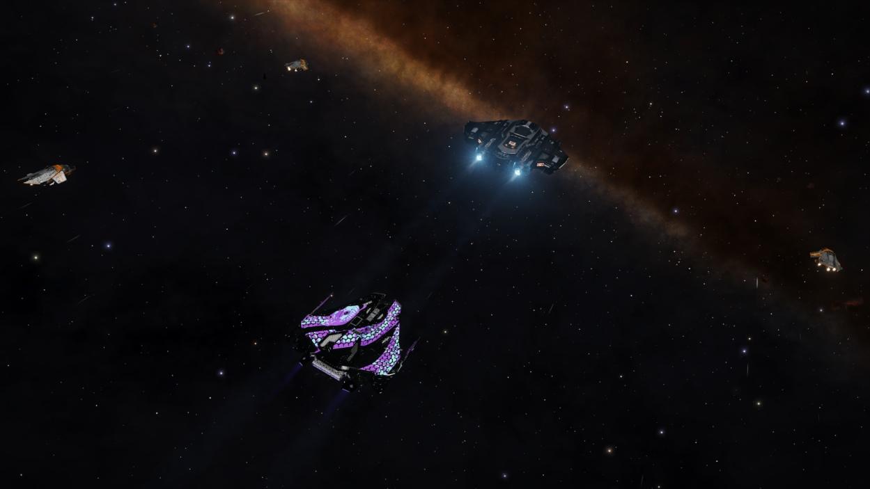 Чёрный Крайт пилота Arunden гонится за чёрным Тип 9 в чёрном космосе. Раса пилота не уточняется