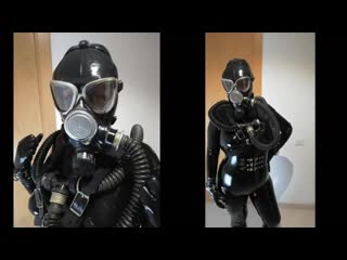 Gas mask latex girl