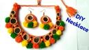 DIY pom pom Necklace / Navratri Special Ornaments/ Jewellery/Handmade Best out of waste.