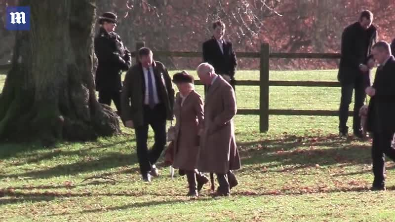 Prince Charles and Duchess of Cornwall enjoy brisk walk after Sunday service