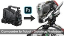 Camcorder to Robot - Drawing/Photobash Timelapse