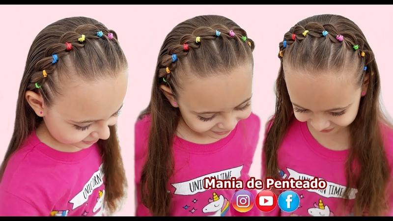 Penteado Fácil com Tiara Trançada e Ligas💕 Easy Rubber Band Headband Haistyle for Little girls💕