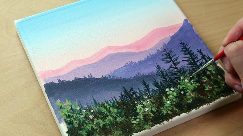 Beautiful mountain landscape Acrylic painting Painting Tutorial Painting ASMR