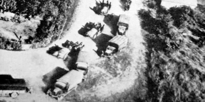 Вид с воздуха на колонну румынской армии во время наступления на Сталинград