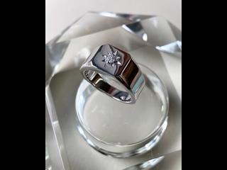 Мужское золотое кольцо из белого золота 585 пробы с бриллиантом