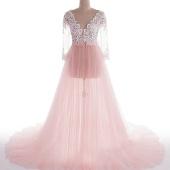 Будуарное нежно-розовое платье, р-р 44-48