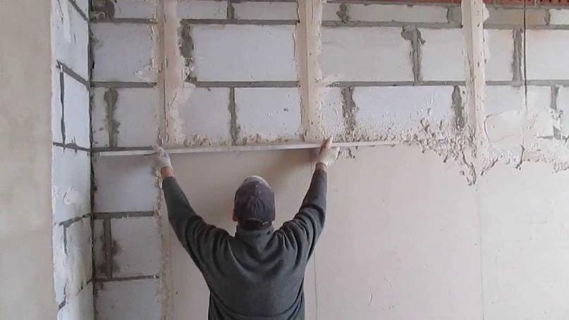 Штукатурка стен из газоблоков цементным раствором штрабной бетон