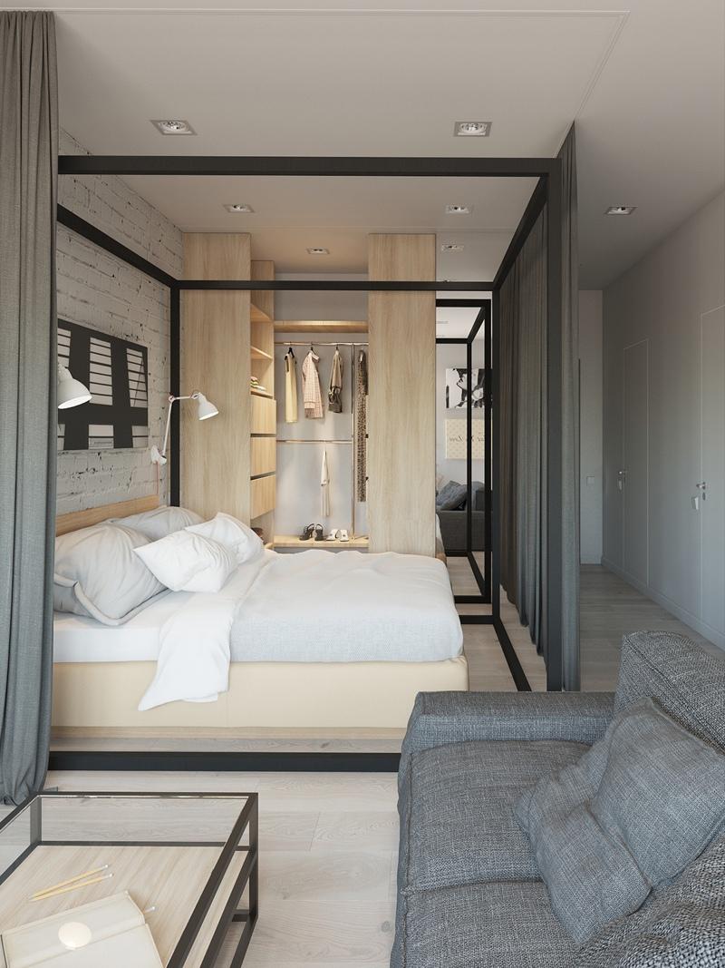 Проект квартиры 42 м с зонированием шторами.