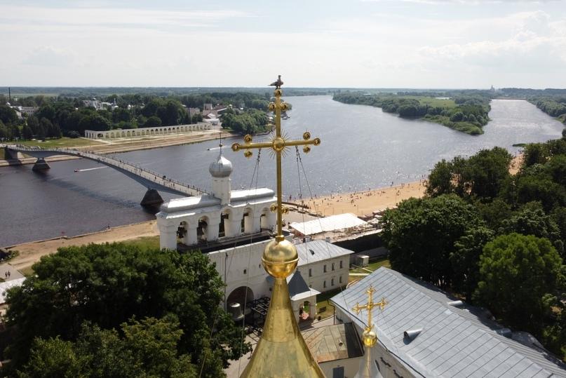 Великий Новгород с высоты птичьего полета. Вид на Собор Святой Софии