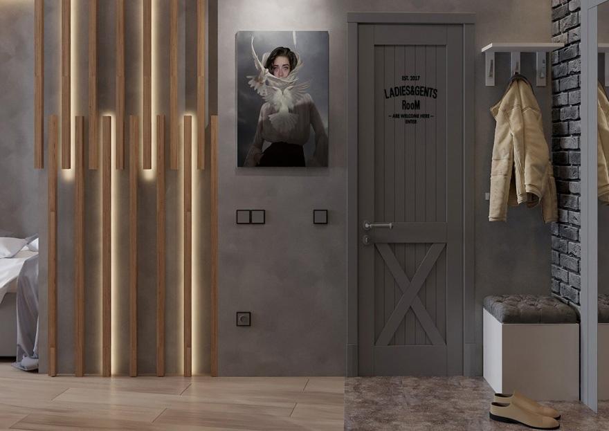 Проект небольшой квартиры-студии 25 м (+ лоджия).