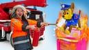 Веселая школа - Щенячий патруль, Кирилл и пожарная машина тушат пожар. Видео для детей про машинки