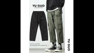 Весенне летние брюки карго для студентов, мужские свободные прямые брюки на шнурке, корейская мода, новые повседневные мужские
