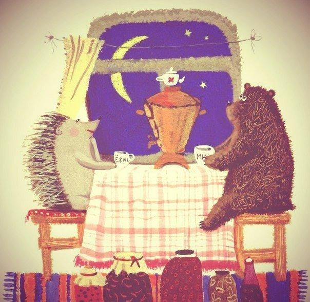картинки чай и медведь шнура гусеничка для