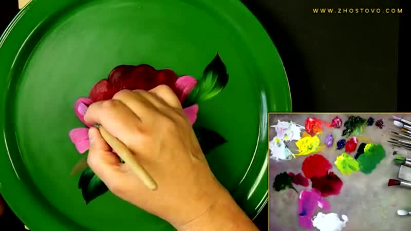 Painting Peony in Zhostovo technique Oil