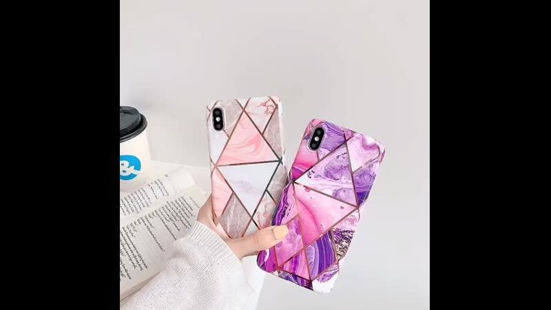 $2.25 - 2.95 . Геометрический мраморный чехол для телефона iPhone 7 8 Plus XR XS MAX X 6 6S Plus 11 Pro Max, чехол IMD с гальва