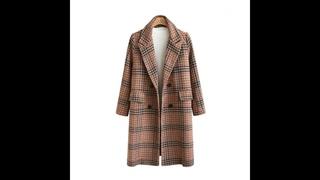 Женское шерстяное пальто свободного кроя, длинное шерстяное пальто размера плюс в шотландскую клетку, осень зима 2019